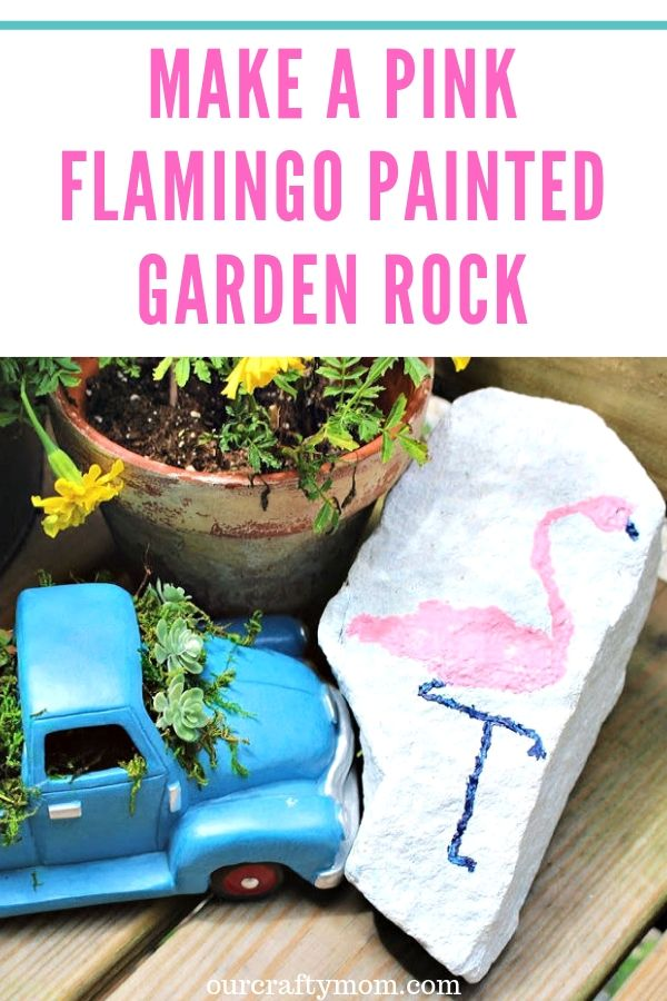Learn how to paint a pretty pink flamingo on a painted garden rock. The best part is it can be completed in under 15 minutes! Quick and easy crafting at it's best!