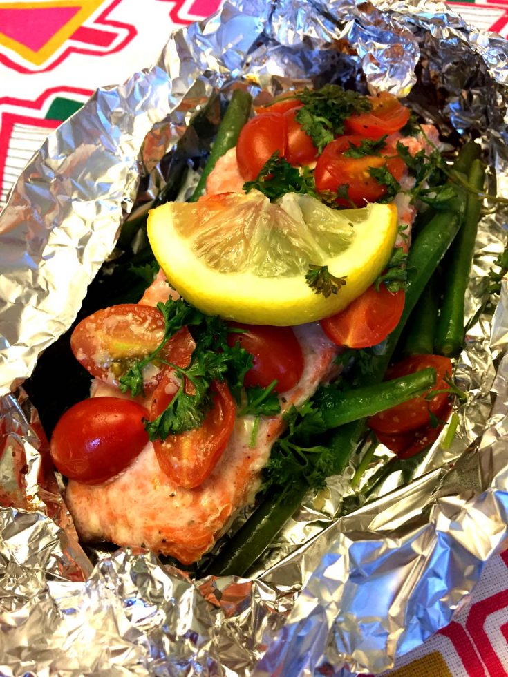 Garlic Salmon And Summer Vegetables In Foil Packets (Grilled Or Baked)