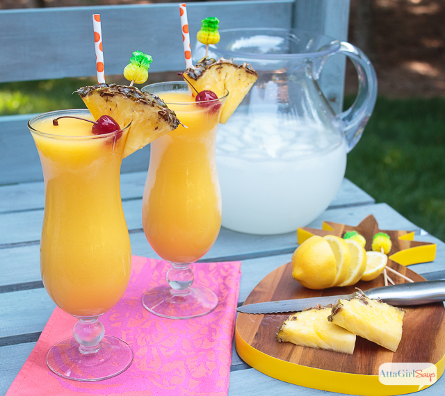 Tropical Frozen Lemonade Spiked with Pineapple Rum
