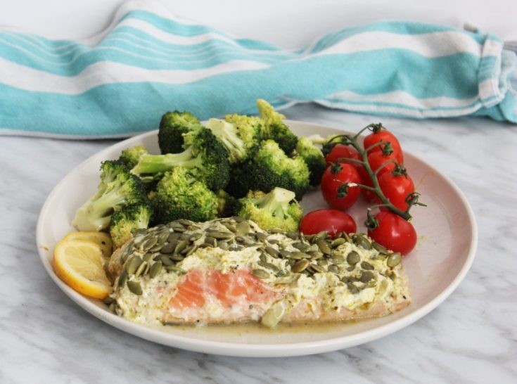 Salmon Baked in Foil with Pesto