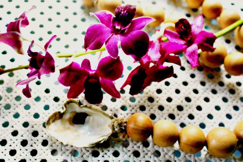 wood beads with orchid
