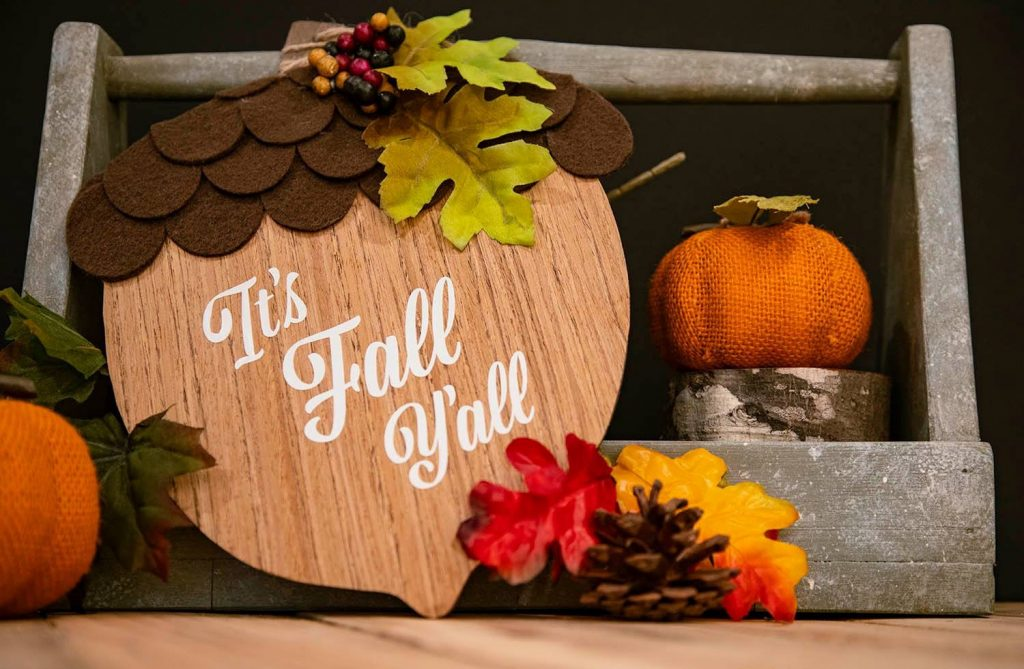 Dollar store fall acorn sign