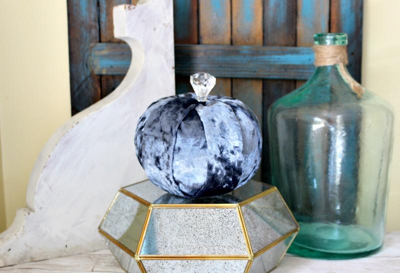 Blue Velvet Dollar Store Pumpkin