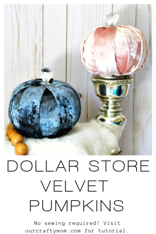 dollar store diy velvet pumpkins in blue velvet and pink velvet made from foam pumpkins
