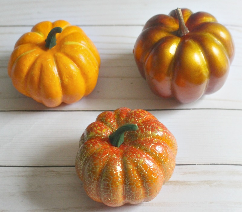 Dollar Store Pumpkins shown before paint