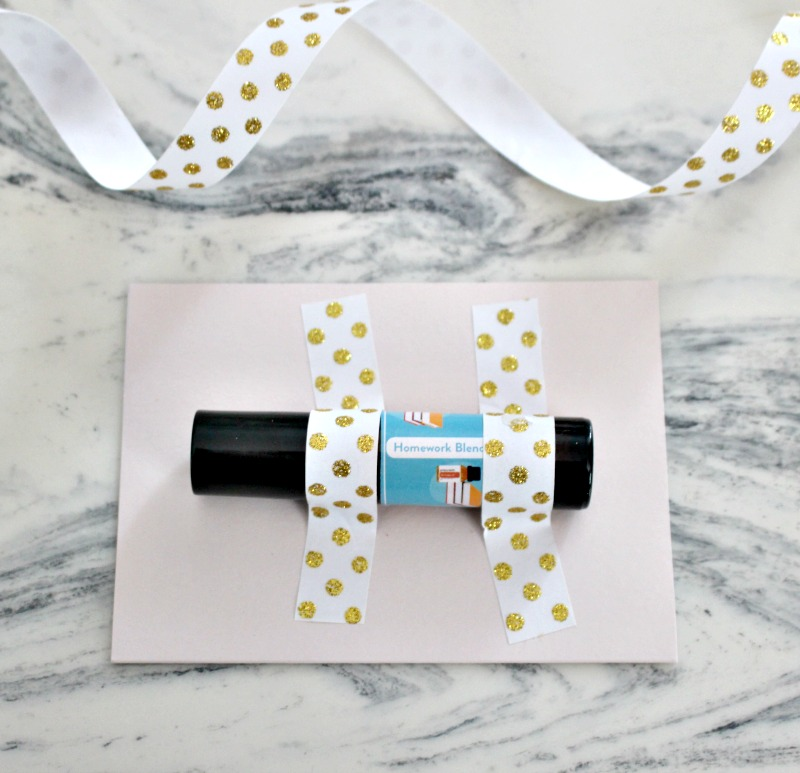Essential Oil Teacher Gifts roller ball with gold polka dot washi tape