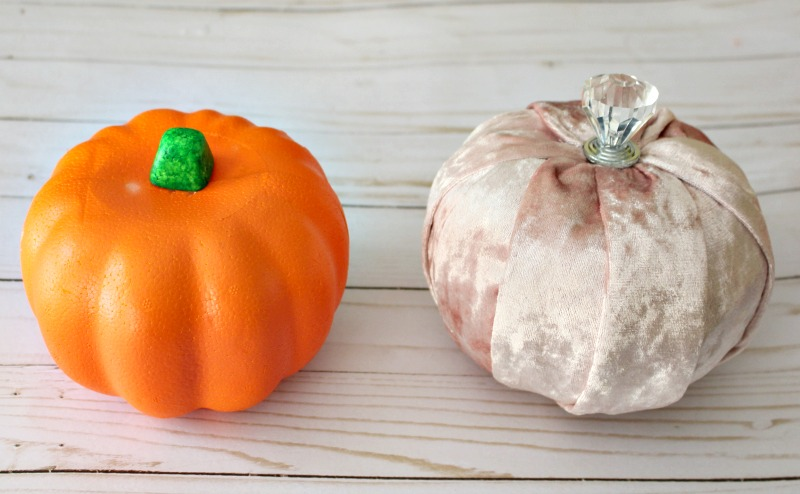 Pink Velvet Pumpkins next to orange foam dollar store pumpkin