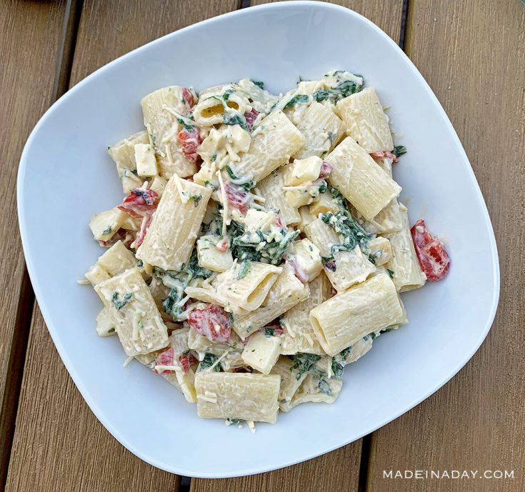Spinach Smoked Mozzarella Pasta Salad Recipe ~Whole Foods Inspired