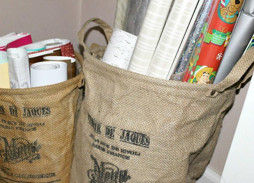 burlap bags holding craft vinyl
