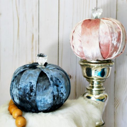 Velvet Pumpkins Made From Dollar Store Foam Pumpkins No-Sew