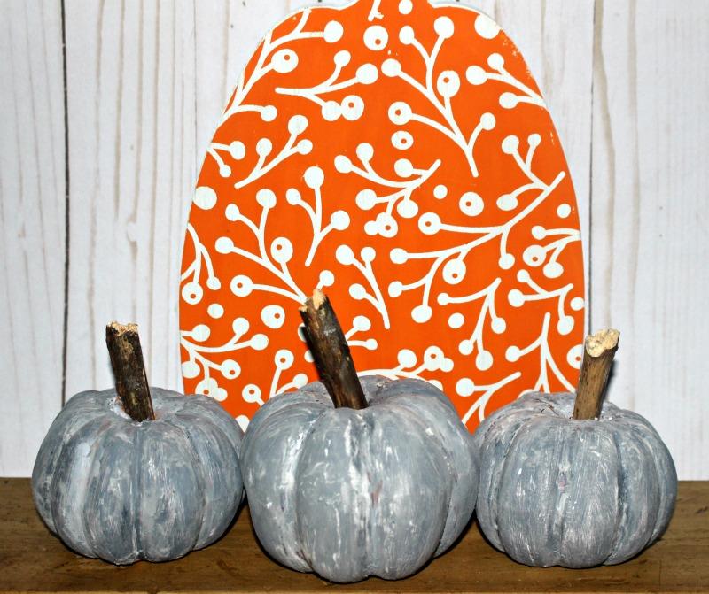 dollar store faux concrete pumpkins