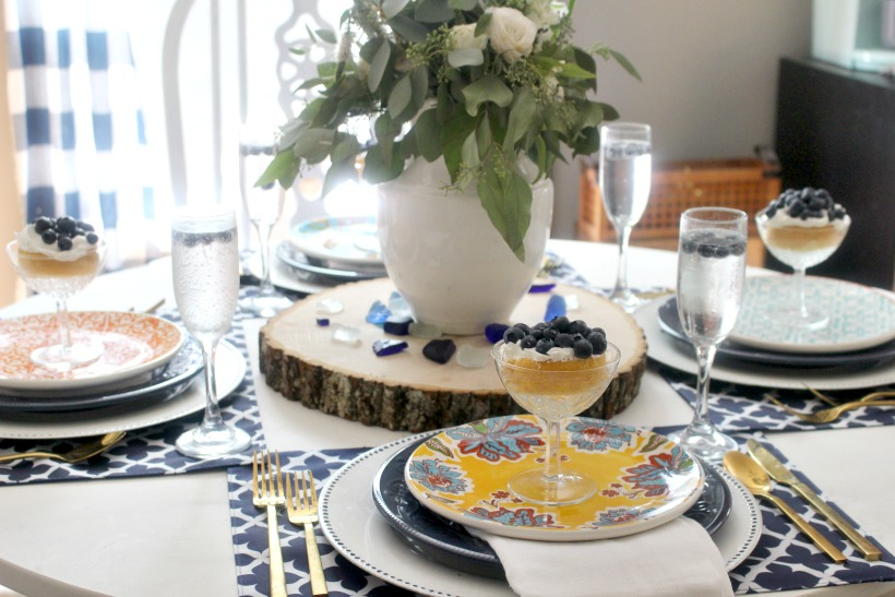 side view of summer tablescape