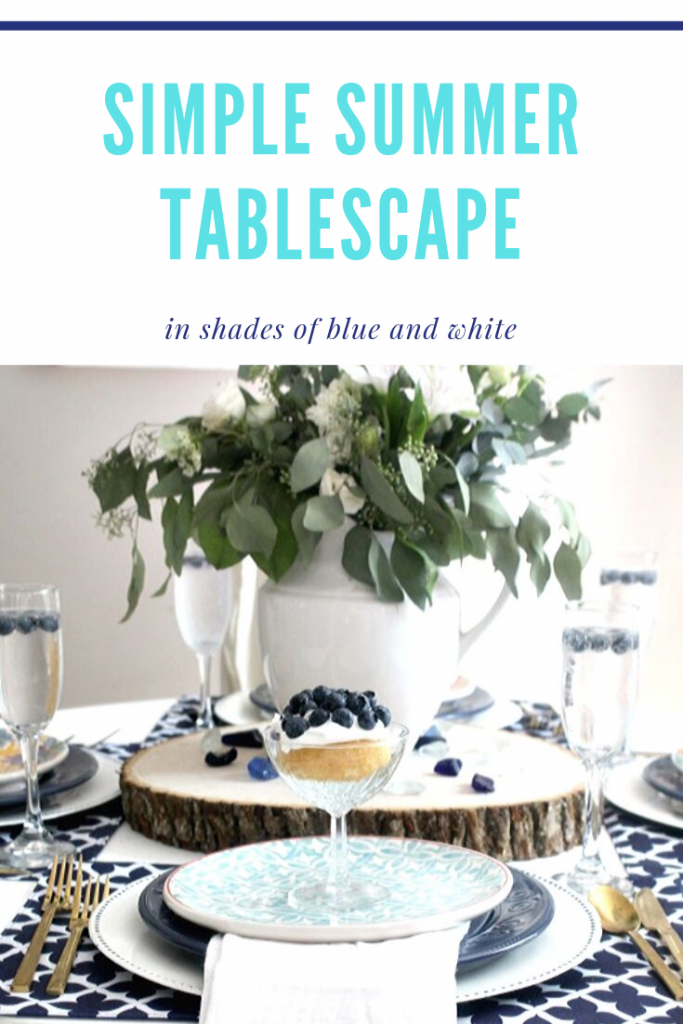 simple summer tablescape in shades of blue and white