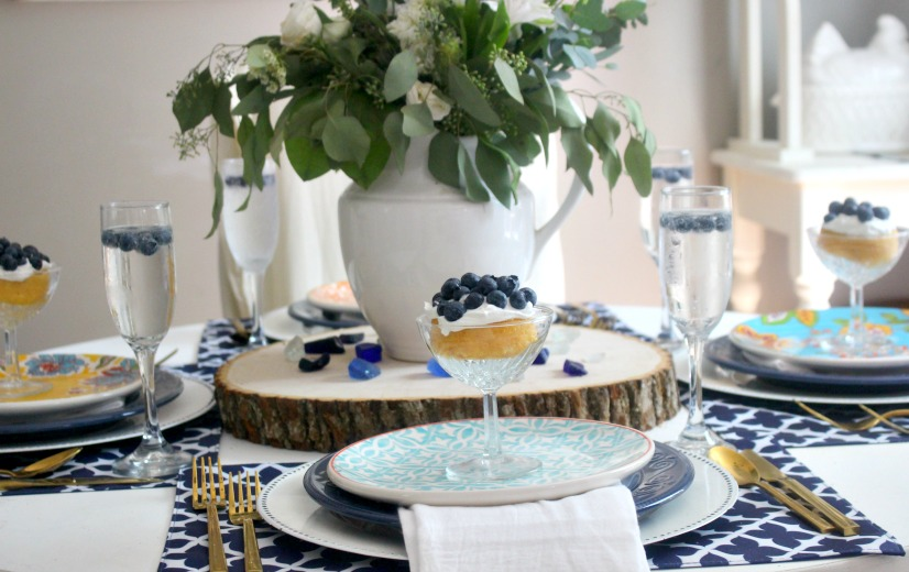 summer tablescape with blueberry shortcake