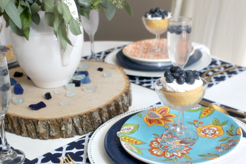 summer tablescape with wood slice