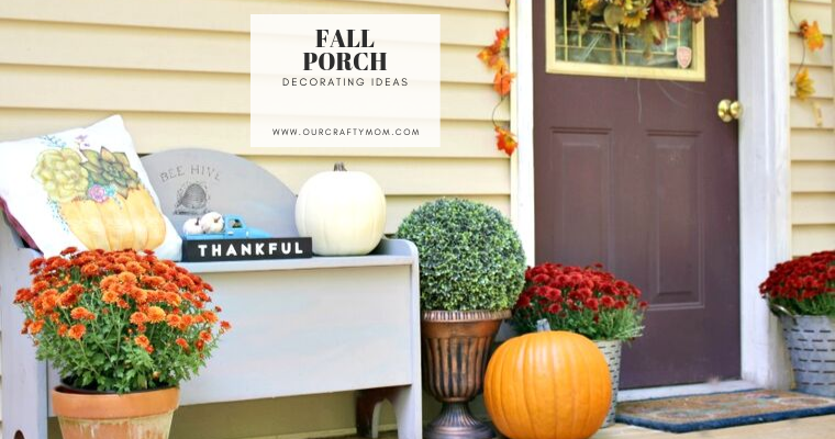 Fall porch decor with gray bench, mums and orange pumpkins