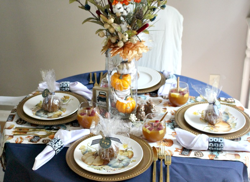 Full view of fall tablescape