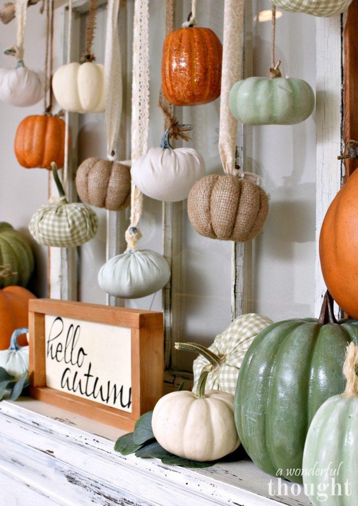 Pumpkins Galore Fall Mantel - A Wonderful Thought