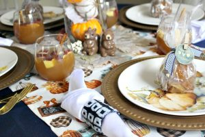 fall tablescape with a pumpkin patch theme