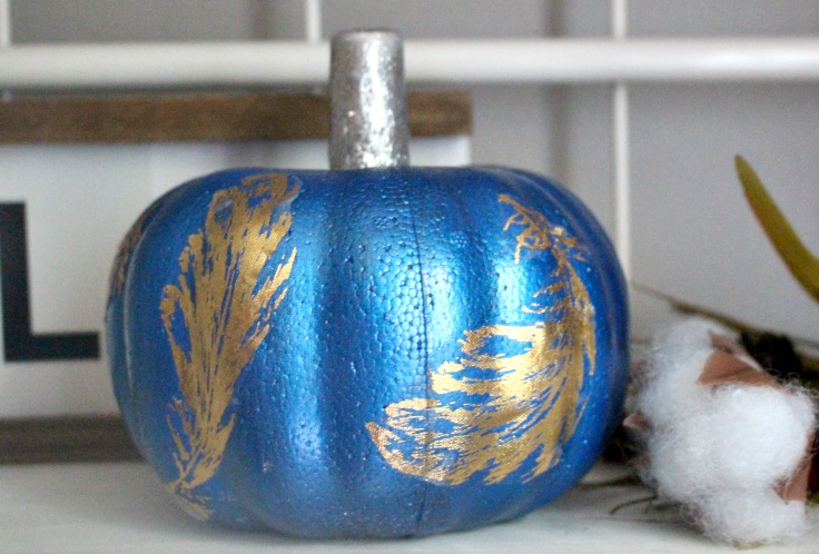 dollar store pumpkin with gold leaves