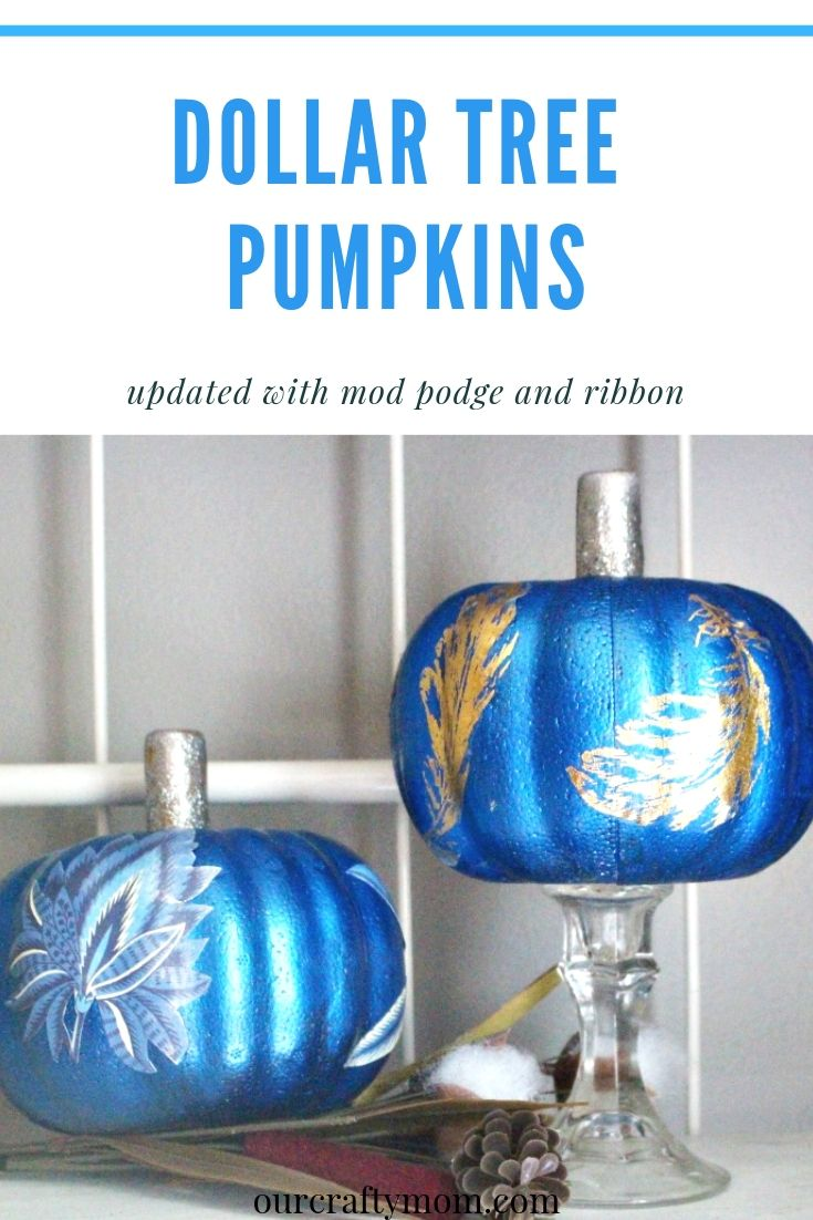 two dollar store pumpkins painted blue
