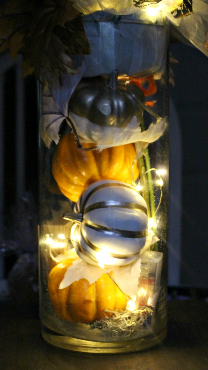 fall centerpiece with lights