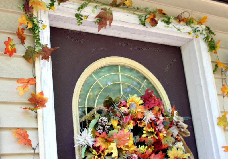 fall door with garland and wreath