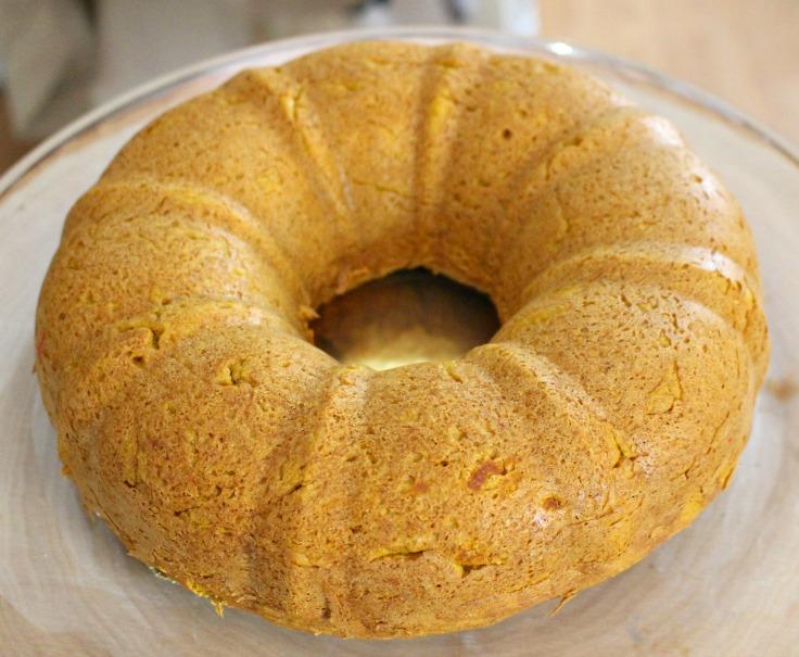 pumpkin spice bundt cake taken out of oven