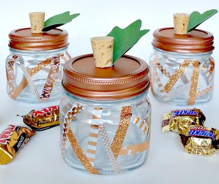 Fall Party Favors - Copper Washi Tape Geometric Pumpkin Jars