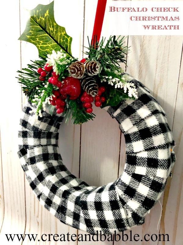 Buffalo Check Christmas Wreath - Create and Babble