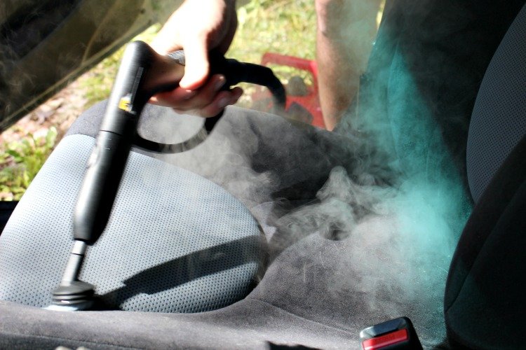 Close up of steaming car seats