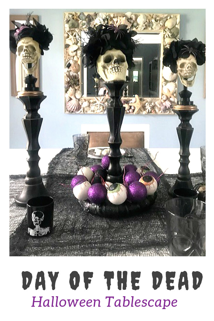 day of the dead halloween tablescape pin image