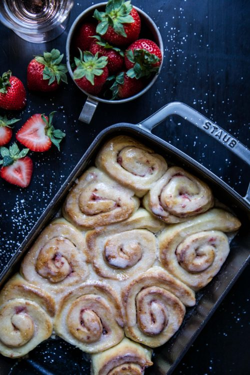 Easy Strawberry Cinnamon Rolls with Rosé Icing