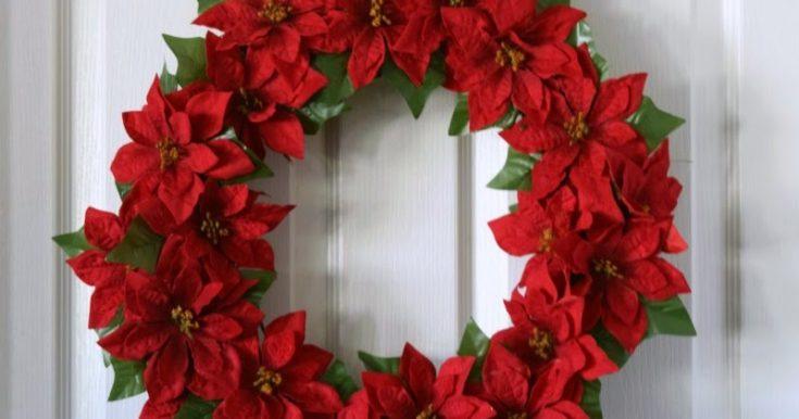 How to Make a Christmas Poinsettia Wreath