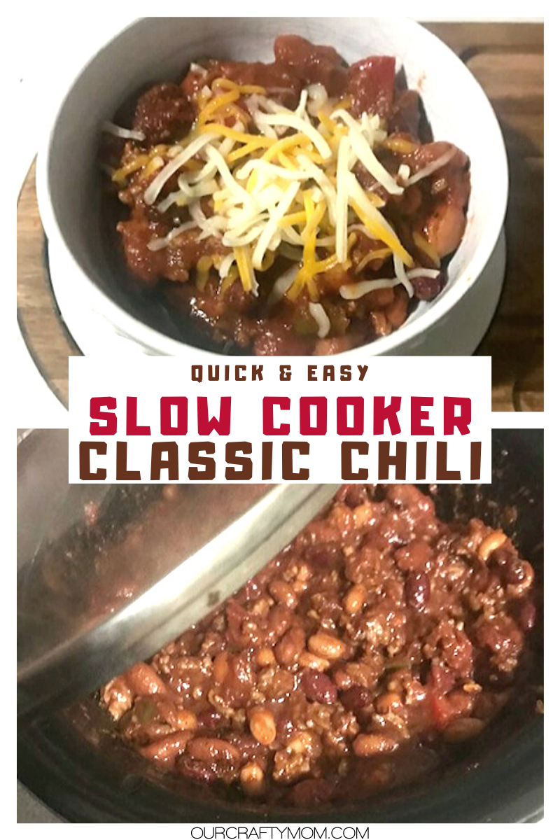 slow cooker classic chili and cheese