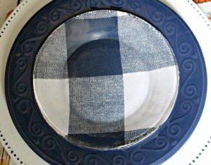 buffalo check plates on navy dish