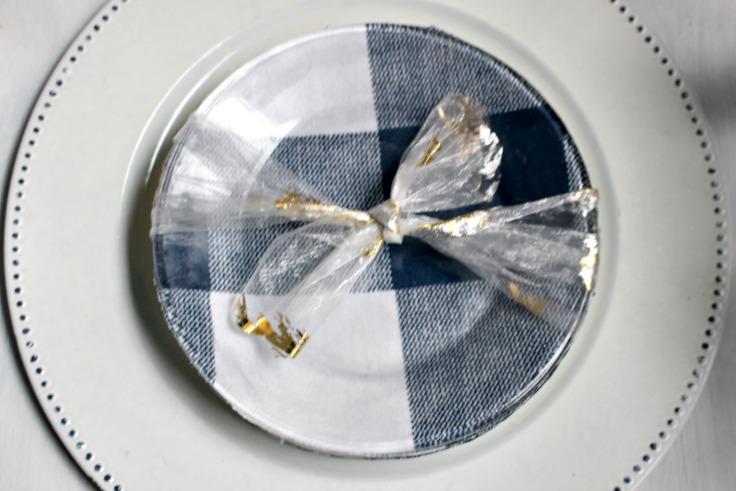 buffalo check plates with ribbon