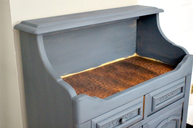 buffet makeover after one coat of paint