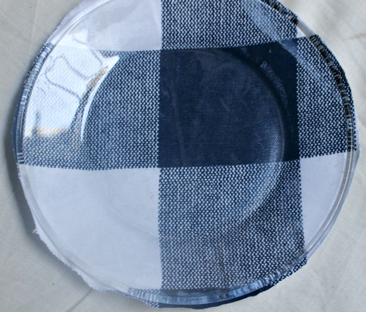 fabric on glass plates trimming ends