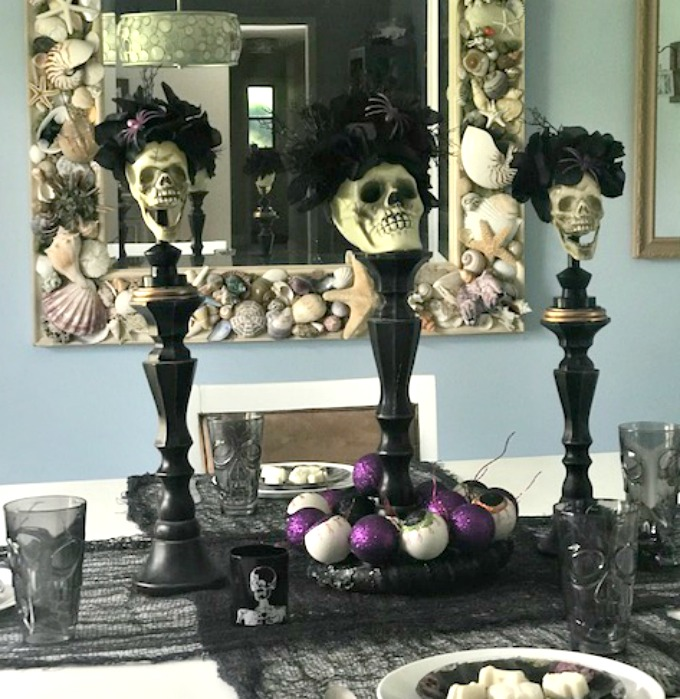 halloween table setting with day of the dead theme