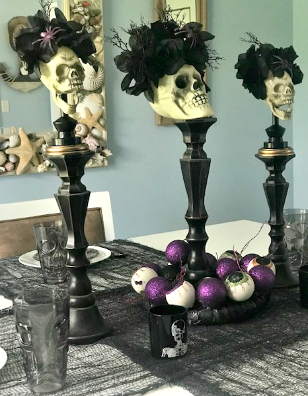 halloween tablescape with candleholders