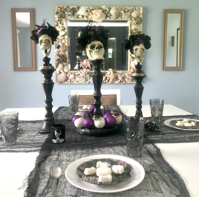 halloween tablescape with sugar skulls