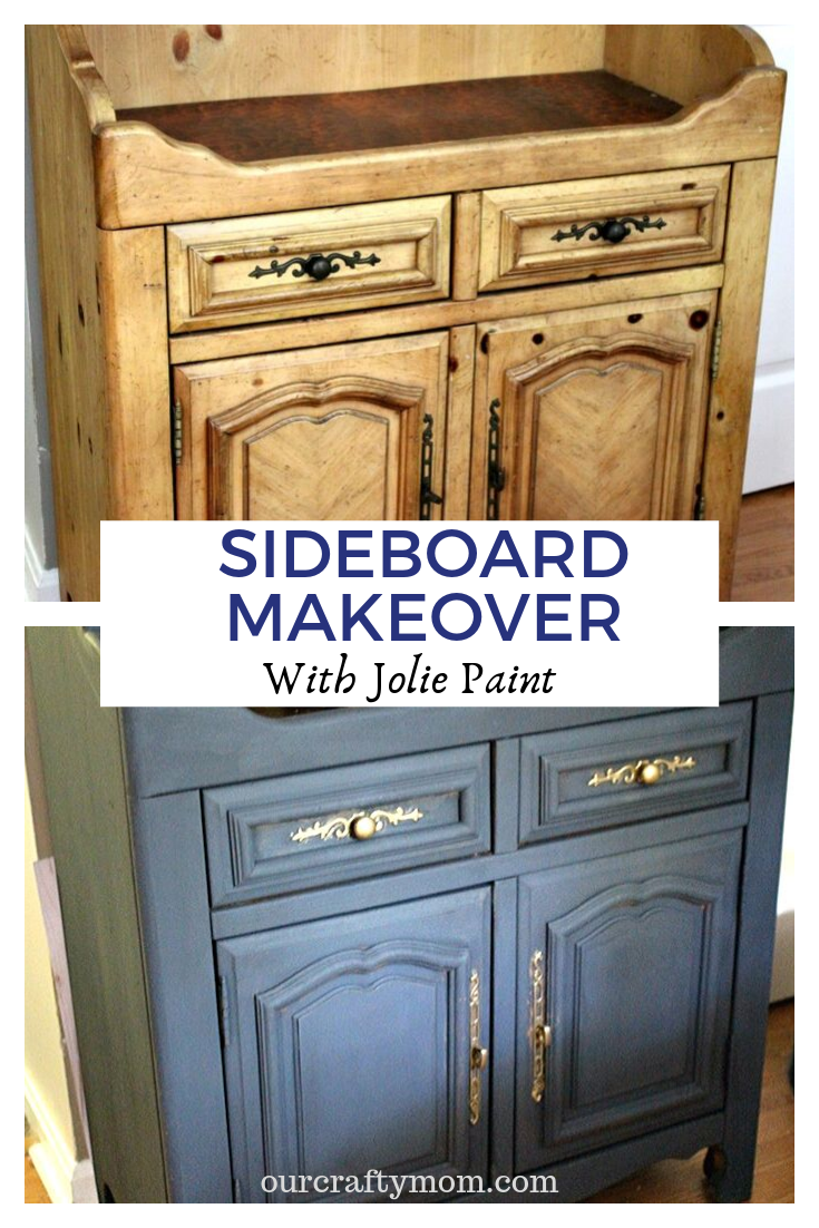 before and after sideboard buffet makeover in jolie classic navy paint