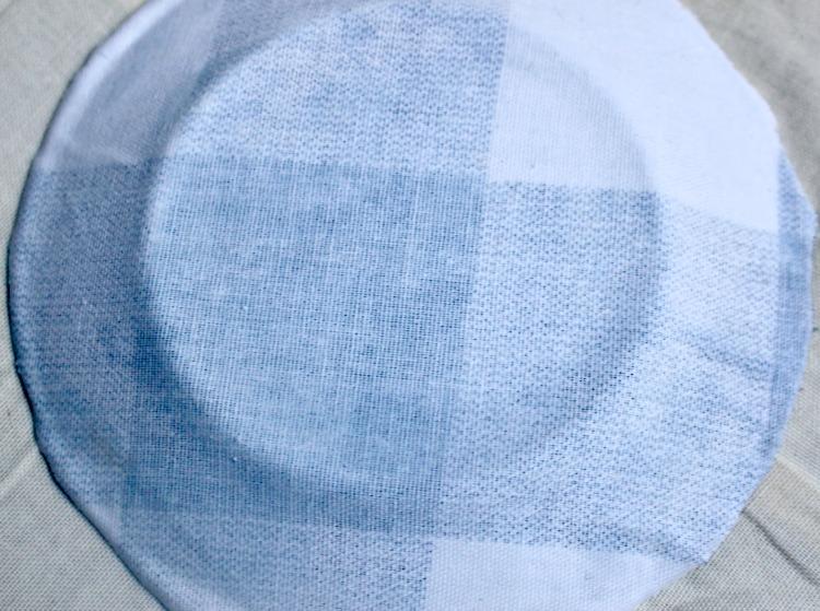 mod podge buffalo check fabric on back of glass plates