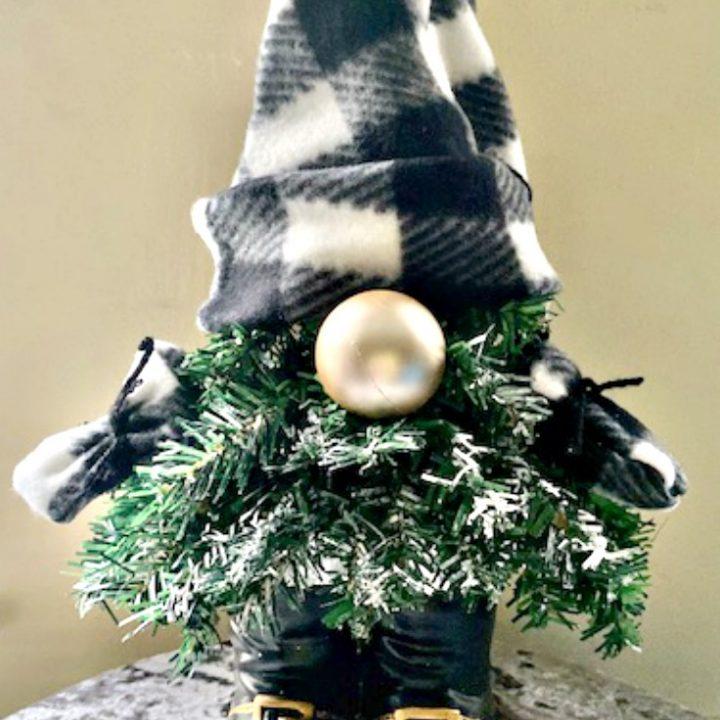 Christmas gnome on gray velvet