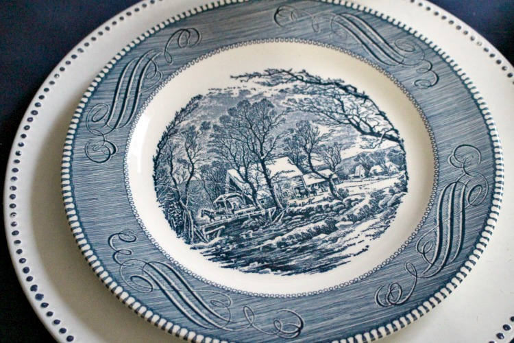 Currier & Ives thrift store dishes