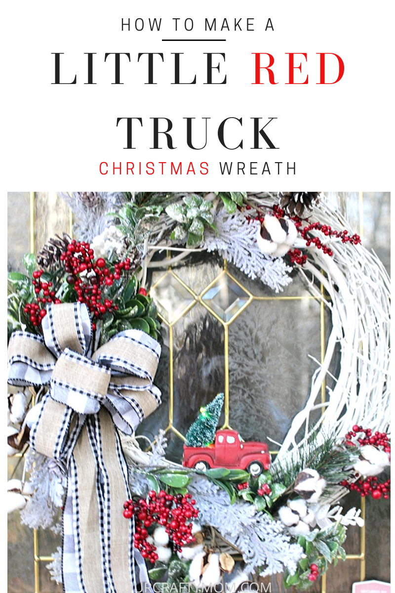 little red truck christmas wreath with buffalo check bow
