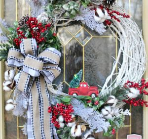 Little red truck wreath with buffalo check bow on front door