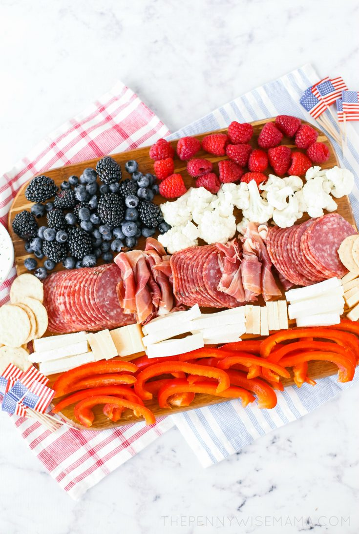Patriotic Charcuterie Board | American Flag Appetizer