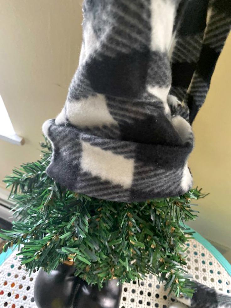 buffalo plaid hat on Christmas gnome